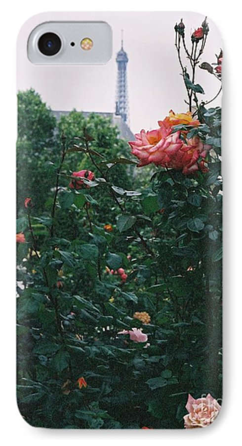 Roses IPhone 7 Case featuring the photograph Pink Roses And The Eiffel Tower by Nadine Rippelmeyer
