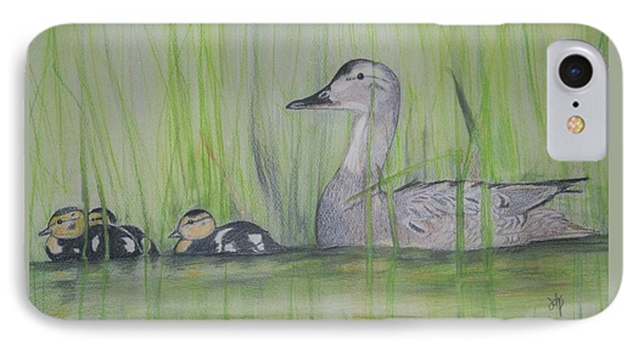 Pintail Ducks IPhone 7 Case featuring the painting Pintails In The Reeds by Debra Sandstrom