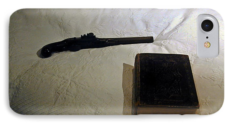 Pistol IPhone 7 Case featuring the photograph Pistol And Bible by Douglas Barnett