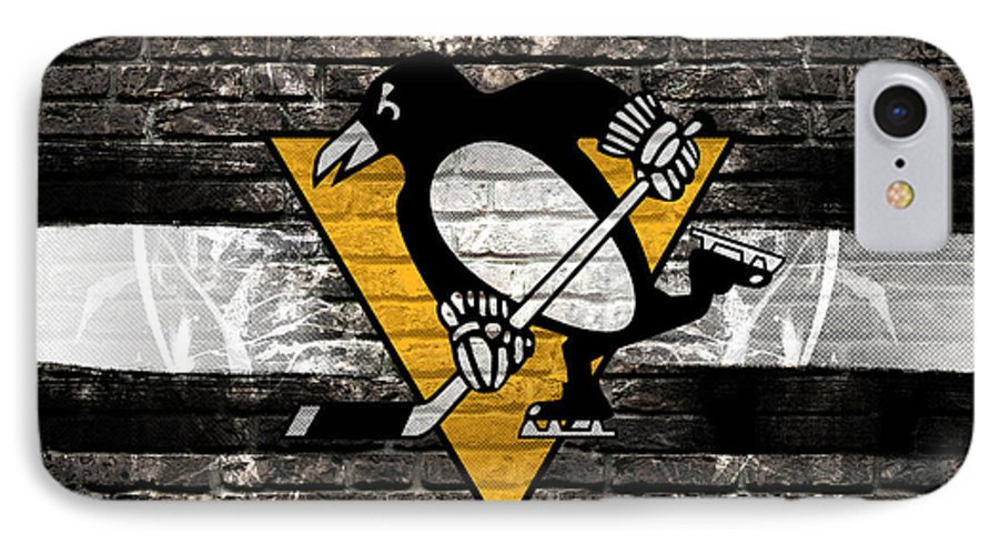 Pittsburgh Penguins IPhone 7 Case featuring the digital art Pittsburgh Penguins Nhl Hockey by Nicholas Legault