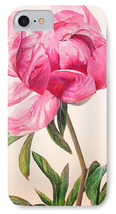 Floral Painting IPhone 7 Case featuring the painting Pivoine 1 by Muriel Dolemieux