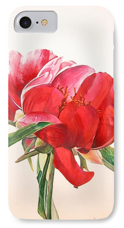 Floral Painting IPhone 7 Case featuring the painting Pivoine 2 by Muriel Dolemieux