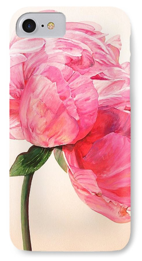 Floral Painting IPhone 7 Case featuring the painting Pivoine 3 by Muriel Dolemieux