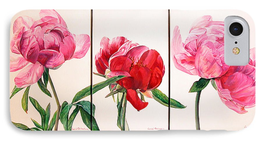 Floral Painting IPhone 7 Case featuring the painting Pivoines by Muriel Dolemieux