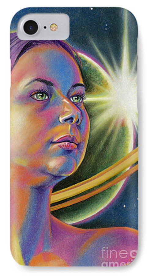 Girl IPhone 7 Case featuring the pastel Planetary Princess by Adesina Artist