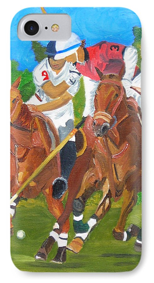 Polo IPhone 7 Case featuring the painting Play In Motion by Michael Lee