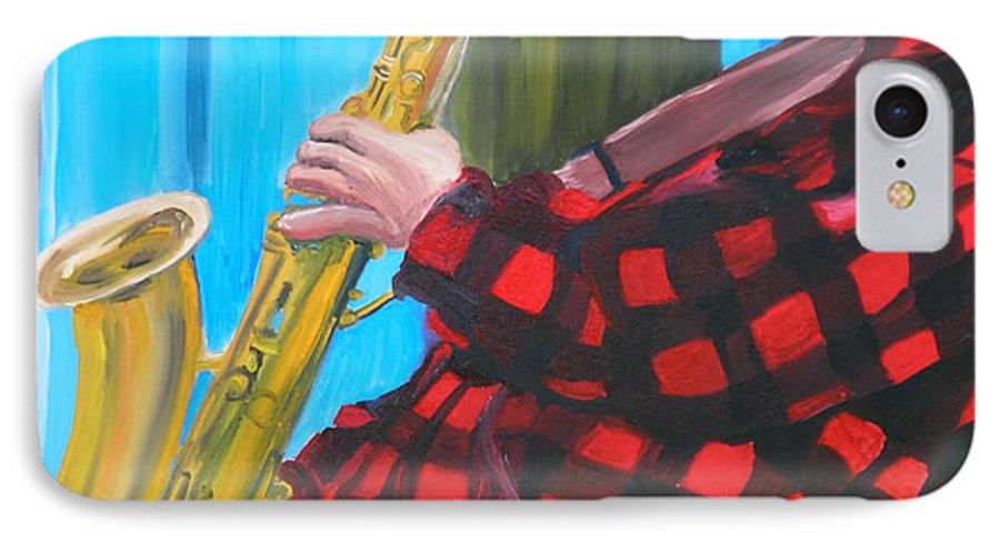 Sax Player IPhone 7 Case featuring the painting Play It Mr Sax Man by Michael Lee