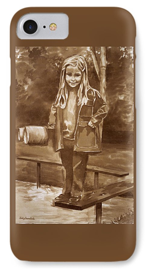 Little Girl On Bench In Park IPhone 7 Case featuring the painting Playground 2 by Judy Swerlick