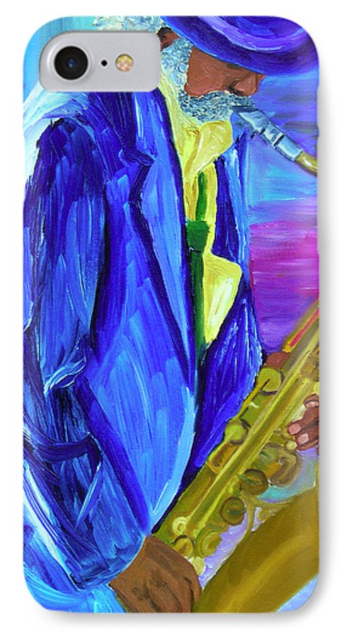 Street Musician IPhone 7 Case featuring the painting Playing The Blues by Michael Lee