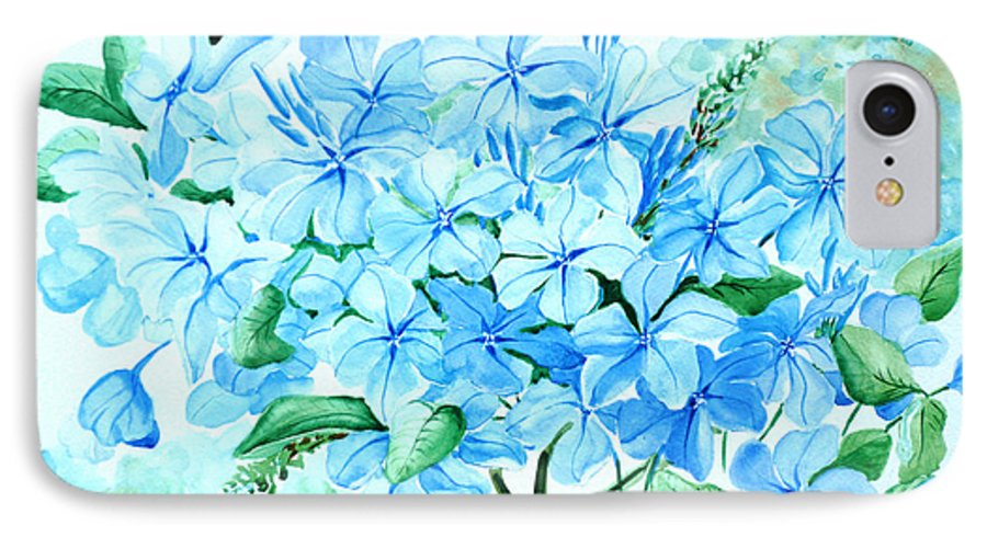 Floral Blue Painting Plumbago Painting Flower Painting Botanical Painting Bloom Blue Painting IPhone 7 Case featuring the painting Plumbago by Karin Dawn Kelshall- Best