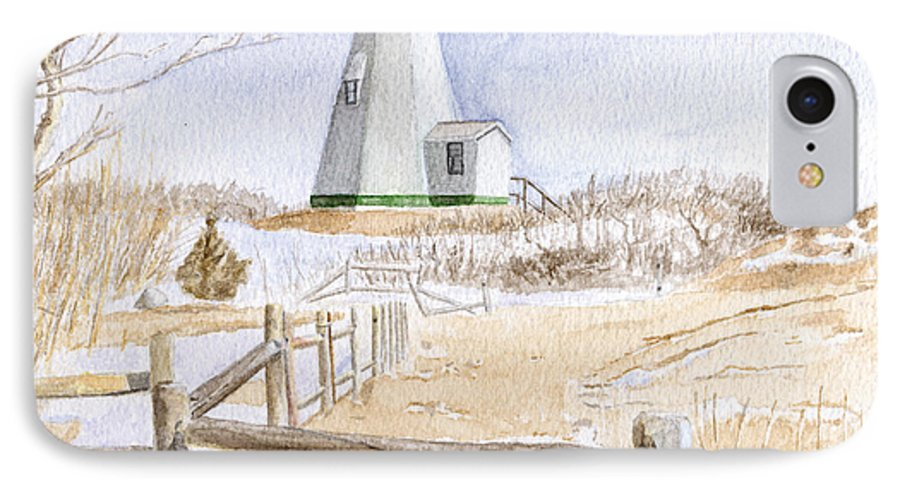 Lighthosue IPhone 7 Case featuring the painting Plymouth Light In Winter by Dominic White