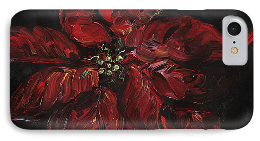 Abstract IPhone 7 Case featuring the painting Poinsettia by Nadine Rippelmeyer