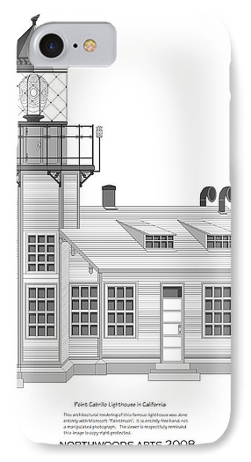 Lighthouse IPhone 7 Case featuring the painting Point Cabrillo Architectural Drawing by Anne Norskog