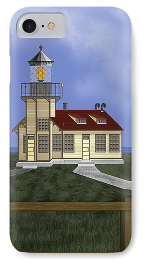 Lighthouse IPhone 7 Case featuring the painting Point Cabrillo California by Anne Norskog