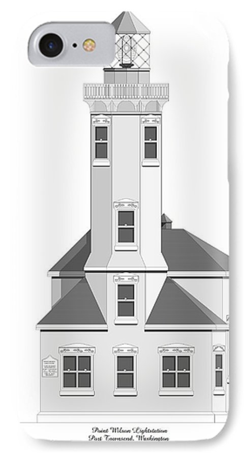 Lighthouse IPhone 7 Case featuring the painting Point Wilson Architectural Drawing by Anne Norskog