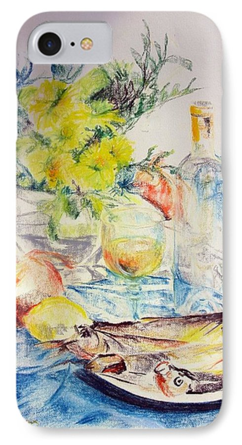 Still Life IPhone 7 Case featuring the drawing Poissons by Muriel Dolemieux