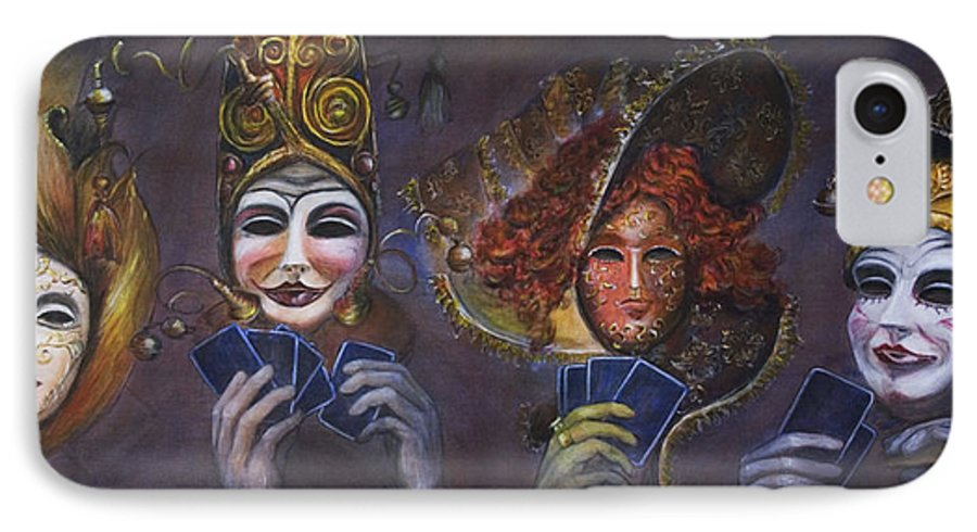 Masks IPhone 7 Case featuring the painting Poker Face by Nik Helbig