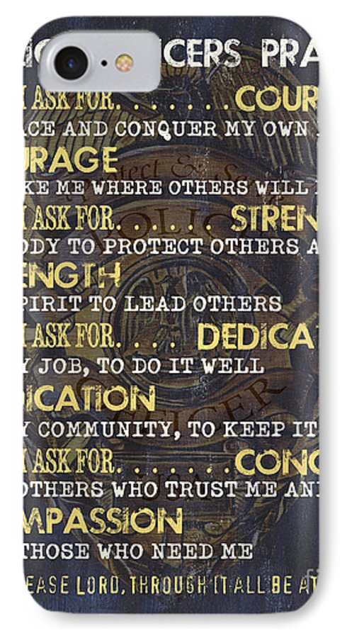 Police IPhone 7 Case featuring the painting Police Officers Prayer by Debbie DeWitt