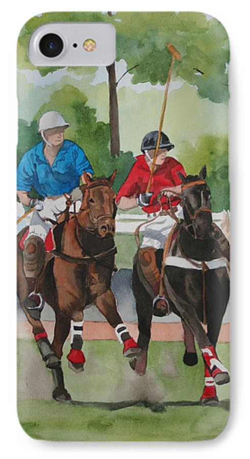 Polo IPhone 7 Case featuring the painting Polo In The Afternoon 2 by Jean Blackmer