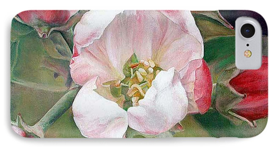 Floral Painting IPhone 7 Case featuring the painting Pommier by Muriel Dolemieux