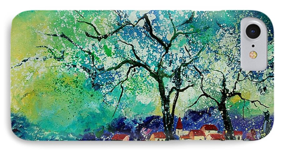 Landscape IPhone 7 Case featuring the painting Poppies And Appletrees In Blossom by Pol Ledent
