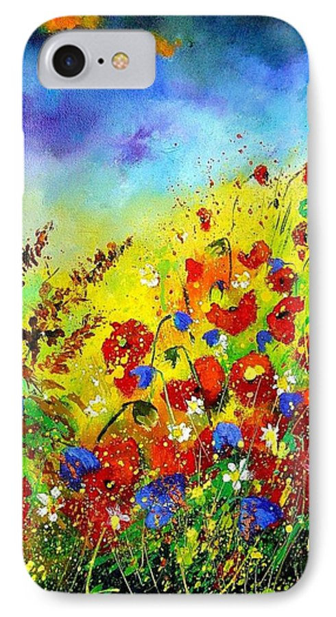 Poppies IPhone 7 Case featuring the print Poppies And Blue Bells by Pol Ledent