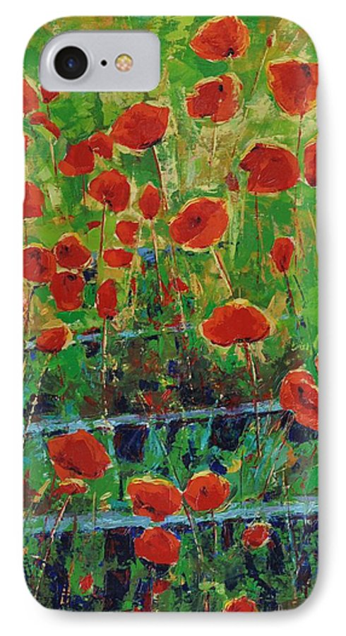 Poppies IPhone 7 Case featuring the painting Poppies And Traverses 1 by Iliyan Bozhanov
