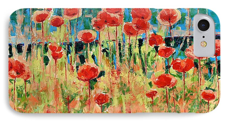 Poppies IPhone 7 Case featuring the painting Poppies And Traverses 2 by Iliyan Bozhanov