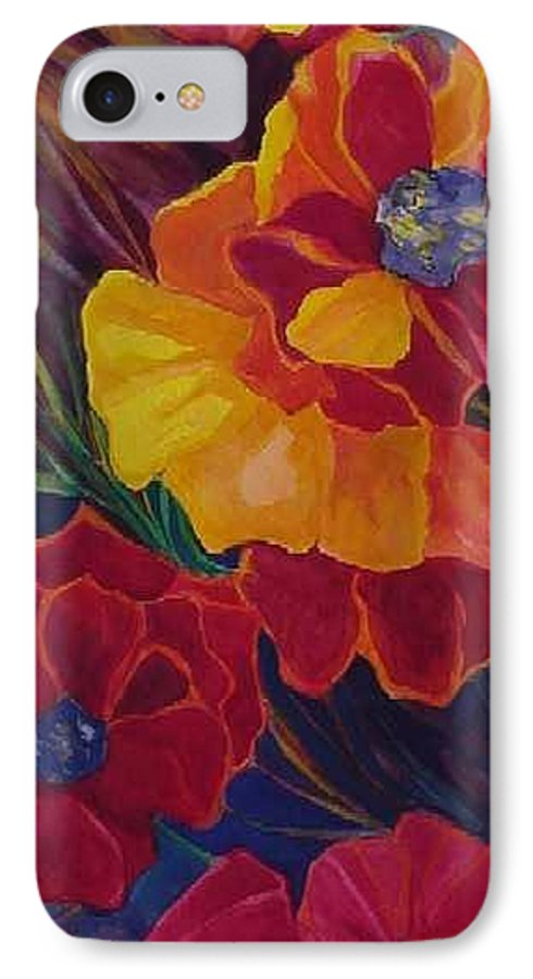 Flowers IPhone 7 Case featuring the painting Poppies by Carolyn LeGrand