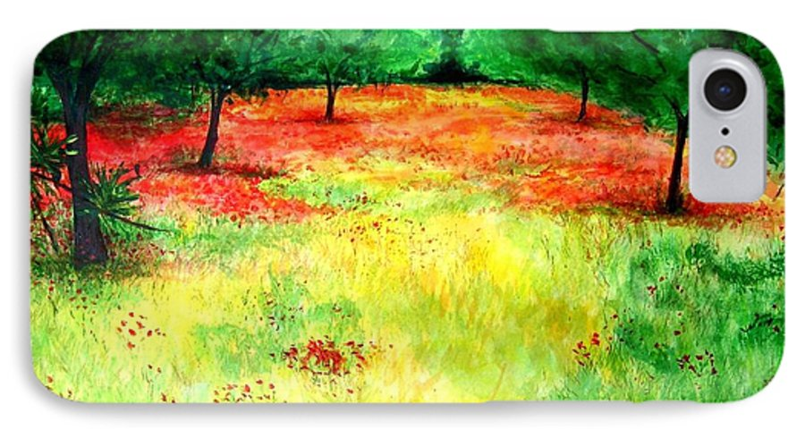 Landscape IPhone 7 Case featuring the painting Poppies In The Almond Grove by Lizzy Forrester