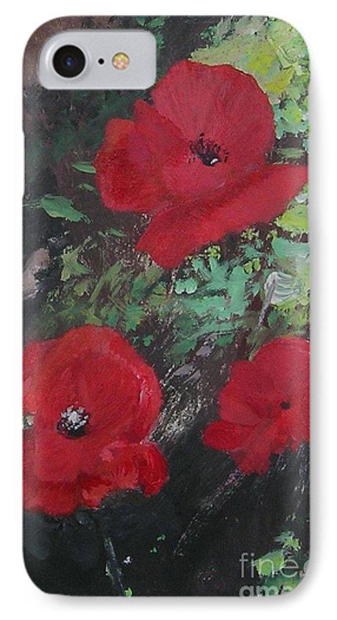 Red IPhone 7 Case featuring the painting Poppies by Lizzy Forrester