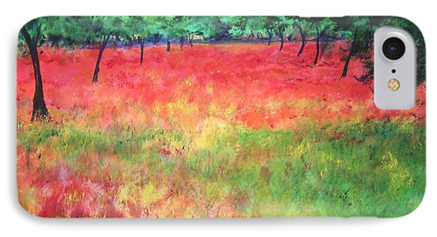 Original Landscape Painting. Poppy Field IPhone 7 Case featuring the painting Poppy Field II by Lizzy Forrester