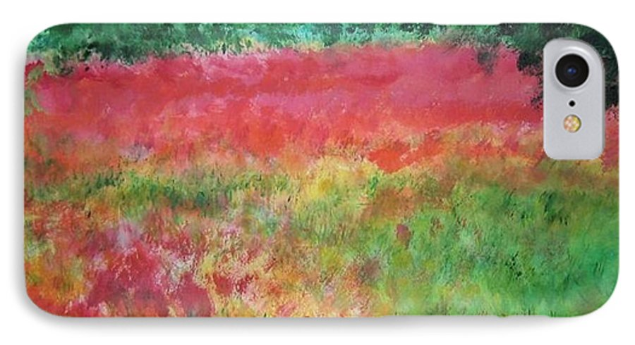Lanscape IPhone 7 Case featuring the painting Poppy Field by Lizzy Forrester