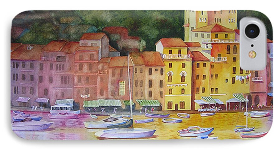 Italy IPhone 7 Case featuring the painting Portofino Afternoon by Karen Stark