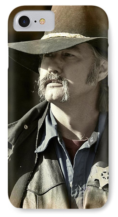 Portrait IPhone 7 Case featuring the photograph Portrait Of A Bygone Time Sheriff by Christine Till