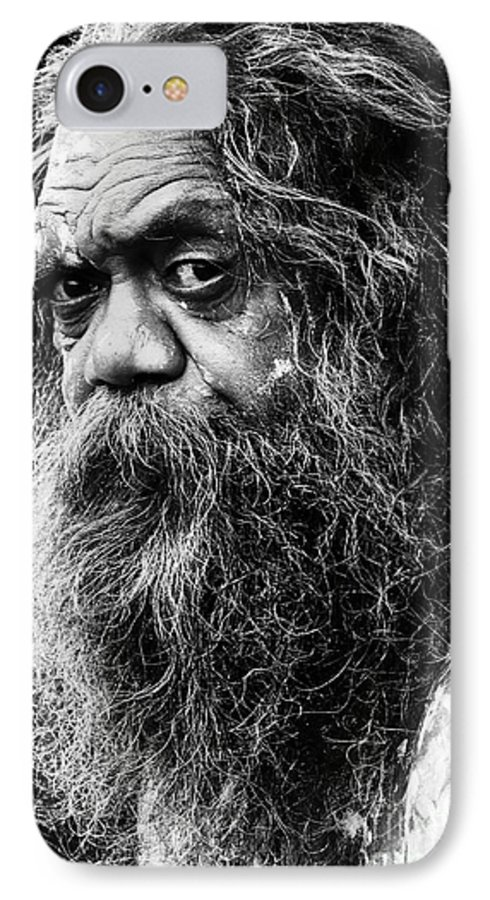 Aborigine Aboriginal Australian IPhone 7 Case featuring the photograph Portrait Of An Australian Aborigine by Avalon Fine Art Photography