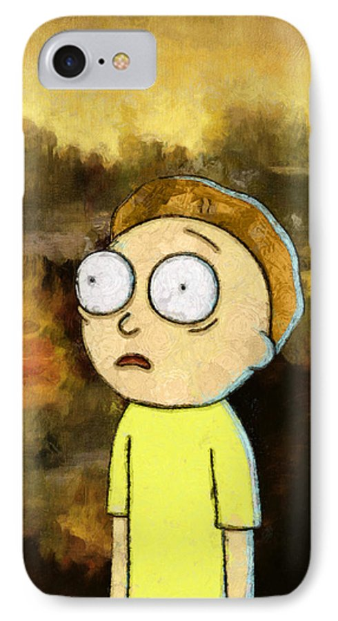 Rick And Morty IPhone 7 Case featuring the painting Portrait Of Morty by Rick And Morty