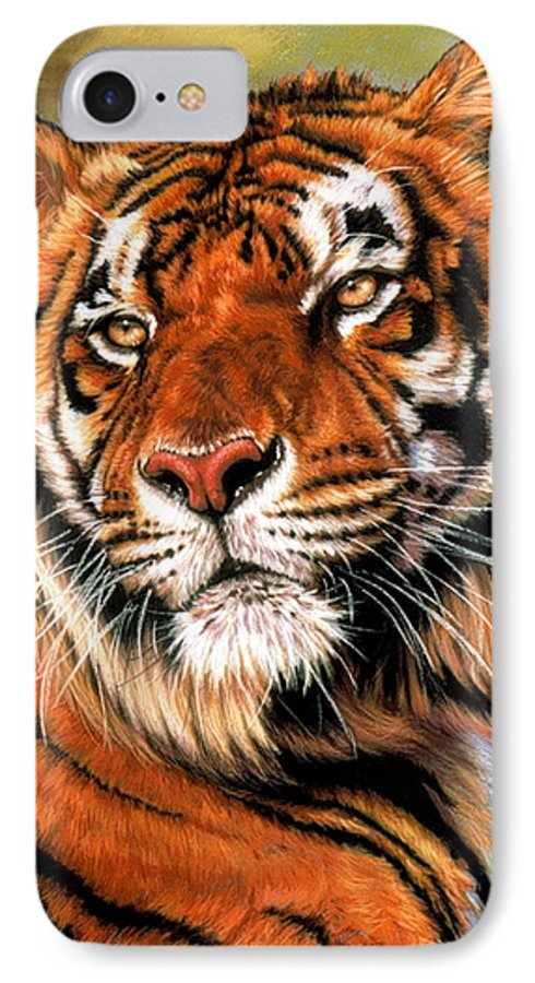 Tiger IPhone 7 Case featuring the pastel Power And Grace by Barbara Keith