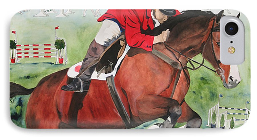 Horse IPhone 7 Case featuring the painting Practice Makes Perfect by Jean Blackmer