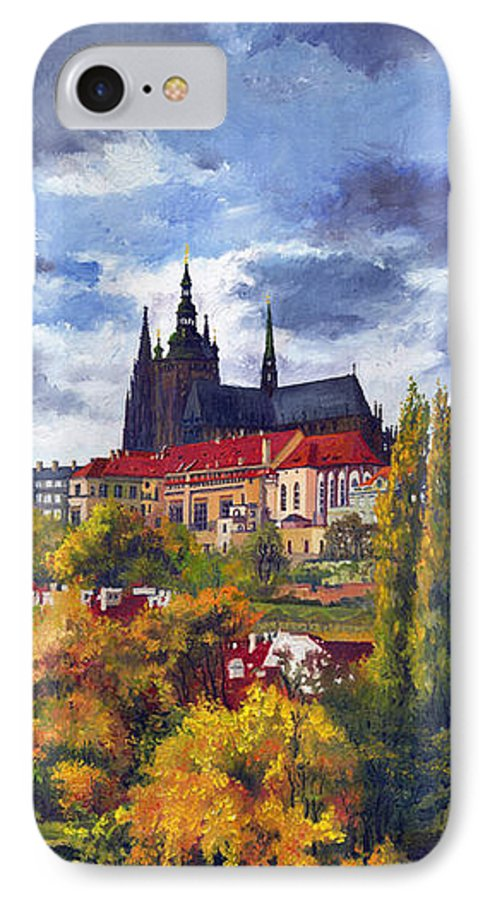 Prague IPhone 7 Case featuring the painting Prague Castle With The Vltava River by Yuriy Shevchuk