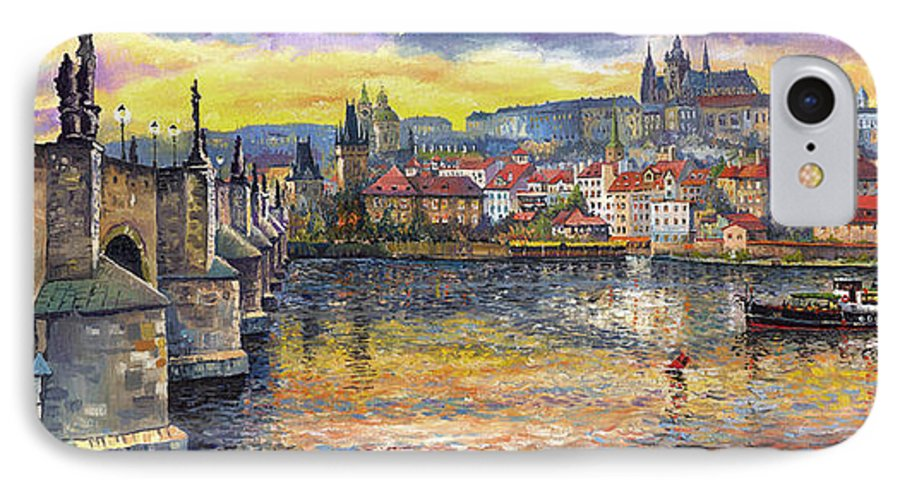 Oil On Canvas IPhone 7 Case featuring the painting Prague Charles Bridge And Prague Castle With The Vltava River 1 by Yuriy Shevchuk