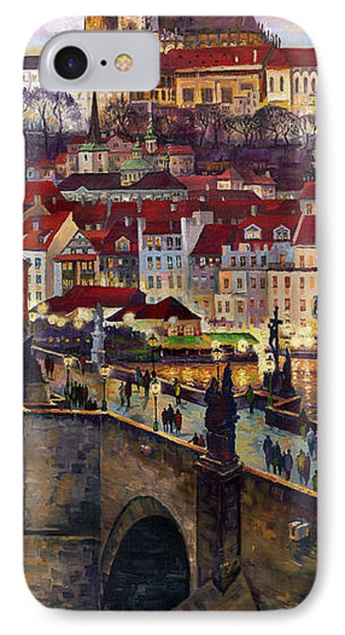 Prague IPhone 7 Case featuring the painting Prague Charles Bridge With The Prague Castle by Yuriy Shevchuk