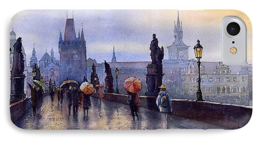 Cityscape IPhone 7 Case featuring the painting Prague Charles Bridge by Yuriy Shevchuk