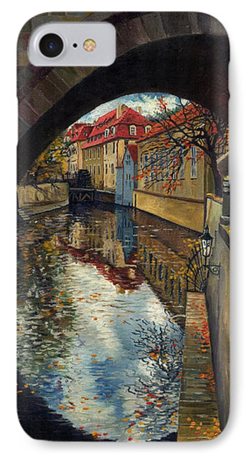 Oil IPhone 7 Case featuring the painting Prague Chertovka 3 by Yuriy Shevchuk