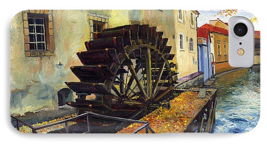 Prague IPhone 7 Case featuring the painting Prague Chertovka by Yuriy Shevchuk