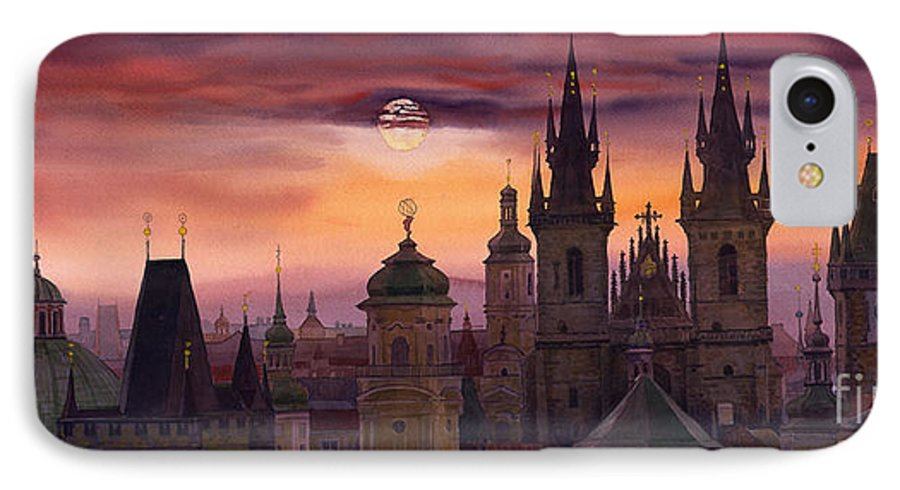 Cityscape IPhone 7 Case featuring the painting Prague City Of Hundres Spiers by Yuriy Shevchuk