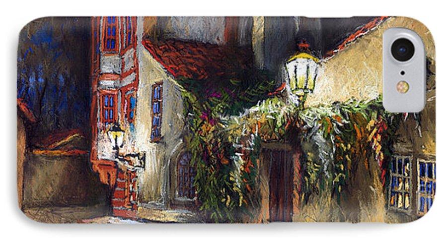 Prague IPhone 7 Case featuring the painting Prague Novy Svet Kapucinska Str by Yuriy Shevchuk
