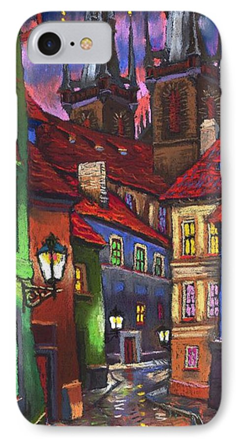 Pastel IPhone 7 Case featuring the painting Prague Old Street 01 by Yuriy Shevchuk