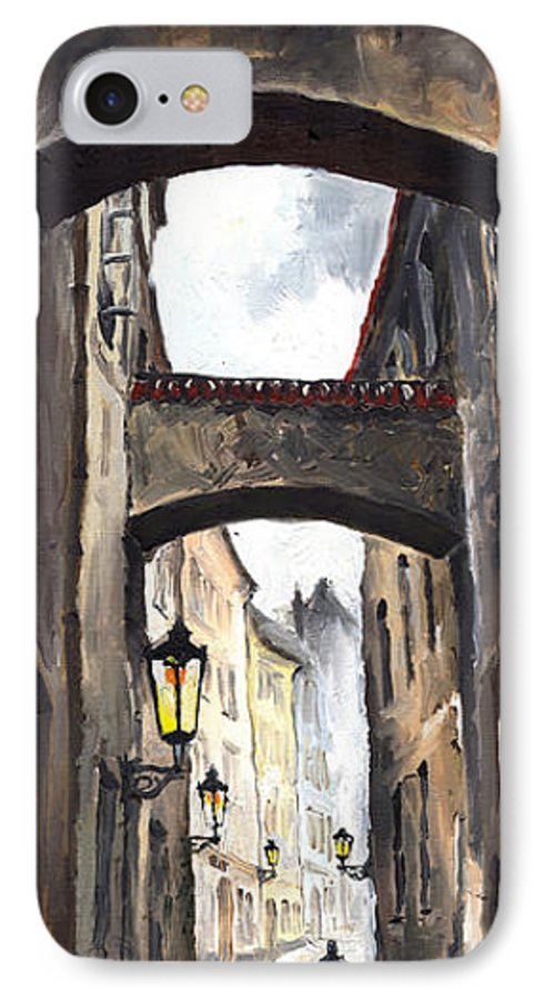 Oil On Canvas Paintings IPhone 7 Case featuring the painting Prague Old Street 02 by Yuriy Shevchuk
