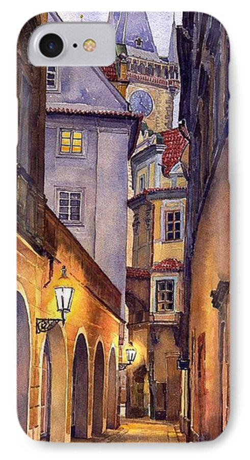 Cityscape IPhone 7 Case featuring the painting Prague Old Street by Yuriy Shevchuk
